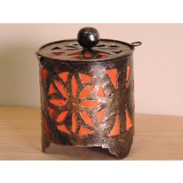 Bougeoir lampion rond orange 15cm