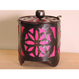 Bougeoir lampion rond rose 15cm