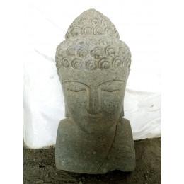 Buste statue de Bouddha en pierre volcanique extérieur zen 70 cm