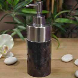 Distributeur de savon en marbre et inox noir