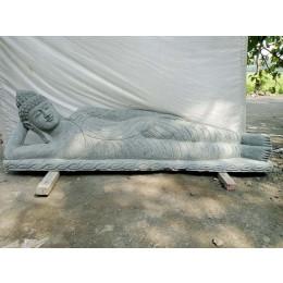 Grande statue de jardin en pierre volcanique Bouddha couché 2m