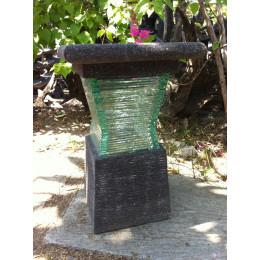 Lampe de jardin en pierre de lave et verre design 40cm