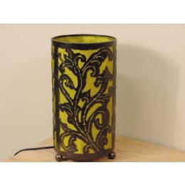 Lampe en fer forgé cylindrique verte 16 cm hauteur 30 cm