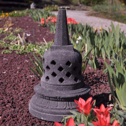 Lampe stupa Borobudur en pierre de lave 45 cm