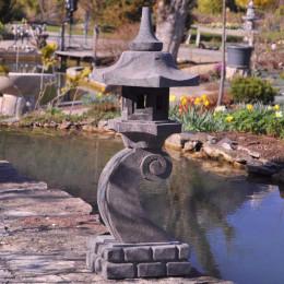 Lanterne japonaise en pierre de lave 90 cm lampe jardin terrasse