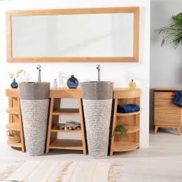 Meuble salle bain en bois teck florence double vasque gris