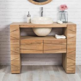 Meuble de salle de bain en teck SERENITE 110cm + vasque crème