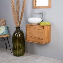 Meuble de salle de bain suspendu en teck cosy 40cm