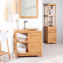 Meuble avec vasque de salle de bain en teck 50 - Meuble de salle de bain contemporain ...