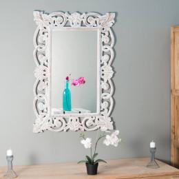Miroir Cordoue en bois patiné cérusé blanc 70 X 100
