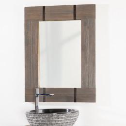 Miroir de salle de bain en mindi 60x80 loft blanc for Miroir 70x50