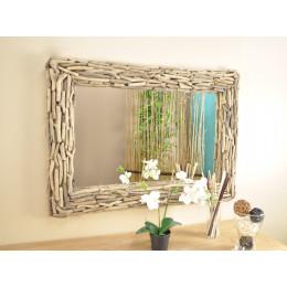 Miroir en bois rondin rond 60 cm for Miroir bois 50 x 70
