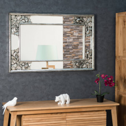 Miroir déco en bois patiné Mathilde argent 1m10 x 70cm