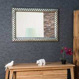 Miroir en bois patiné argenté Pampelune 70 X 100