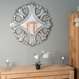 Miroir Impérial 95cm en bois patiné argent
