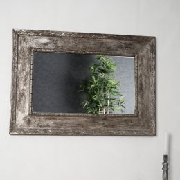 Miroir Palerme en bois patiné bronze cérusé 100cm X 70cm
