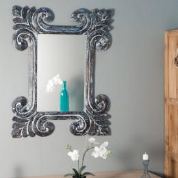 Miroir Tolède en bois patiné gris 80 X 100