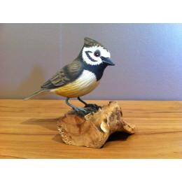 Oiseau des jardins en bois sculpté et peint à la main Mésange huppé pb