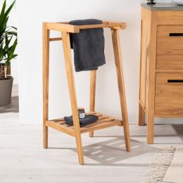 meuble de salle de bain meuble sous vasque double vasque en bois massif nature rectangulaire. Black Bedroom Furniture Sets. Home Design Ideas