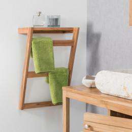 Meuble sous vasque simple vasque suspendu en bois teck for Meuble porte serviette