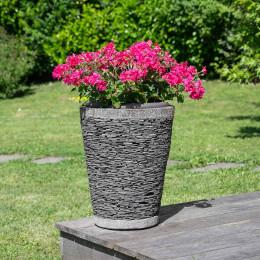 Pot bac jardinière conique ardoise 50cm jardin terrasse zen