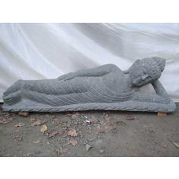 statue Bouddha allongé en pierre volcanique naturelle 1 m 20