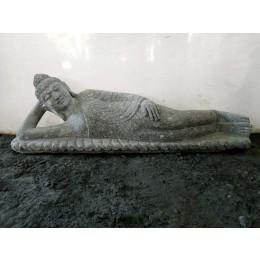 Statue de jardin Bouddha allongée en pierre naturelle 1 m 20