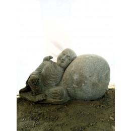 Statue de jardin extérieur moine Shaolin en pierre volcanique naturelle 1 m