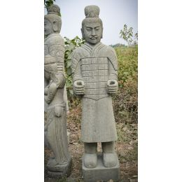 Statue en pierre naturelle soldat officier armée de Xian 2 m