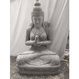 Statue jardin en pierre déesse balinaise fleur zen 1m20