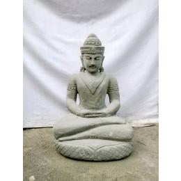 Statue jardin exterieur Bouddha assis pierre volcanique 61 cm