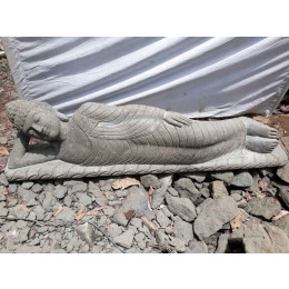 Statue jardin piscine en pierre volcanique Bouddha allongé 2 m