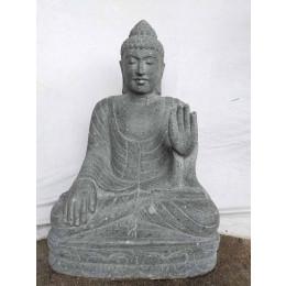 Statue jardin zen Bouddha en pierre volcanique position Chakra 80cm