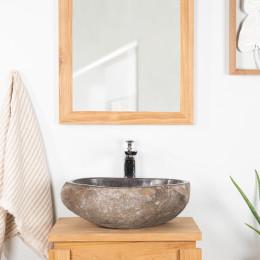 Vasque à poser en pierre naturelle salle de bain GALET 30 cm