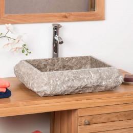 Vasque à poser rectangle en marbre NAPLES gris taupe