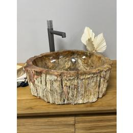 Vasque de salle de bain à poser en bois pétrifié fossilisé intérieur noir 46 CM