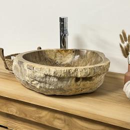 Vasque de salle de bain à poser en bois pétrifié marron 51 cm