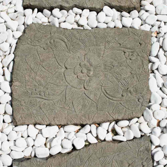2 Pas japonais en pierre volcanique sculpté fleur 60x50cm
