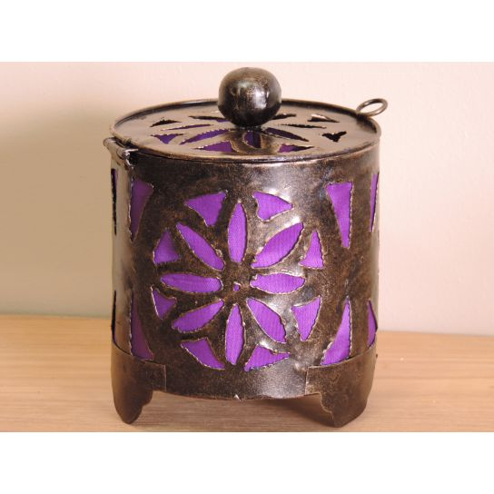 Bougeoir lampion rond violet 15cm