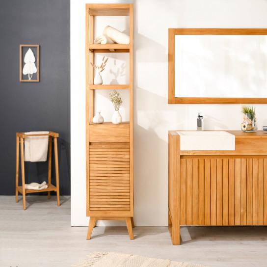colonne de rangement en bois teck massif nordique naturel l 2 m. Black Bedroom Furniture Sets. Home Design Ideas
