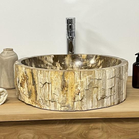 Double vasques de salle de bain en bois pétrifié fossilisé Intérieur beige/marron 45 CM