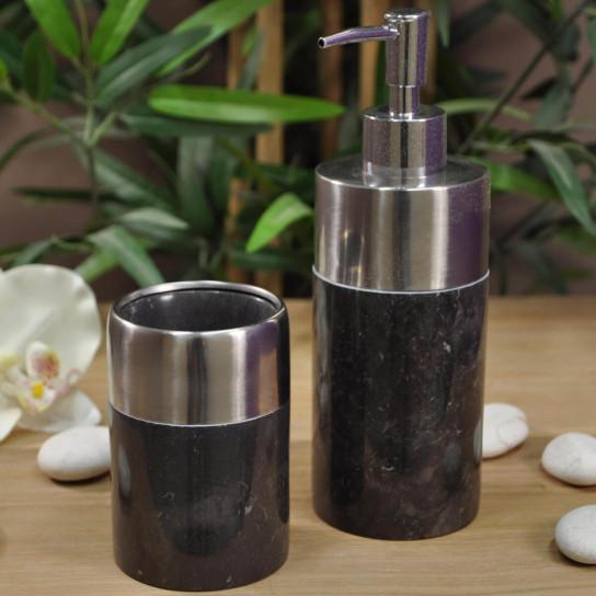 Distributeur de savon et gobelet en marbre et inox noir for Ensemble salle de bain porte savon