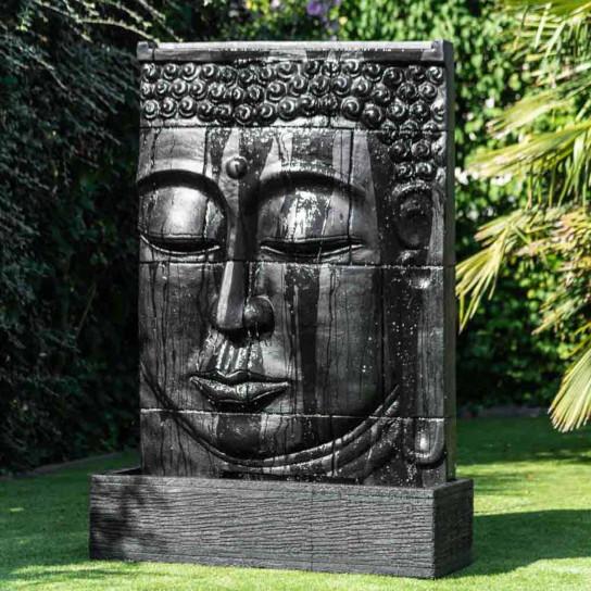 Mur d 39 eau avec bassin visage de bouddha noir h 1 m 80 - Fontaine exterieur zen ...