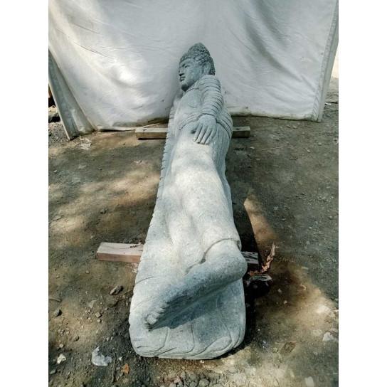 Neuf Grande Statue De Jardin En Pierre Volcanique Bouddha