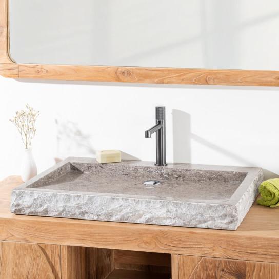 Grande Vasque 70cm à poser rectangle en pierre marbre COSY gris taupe