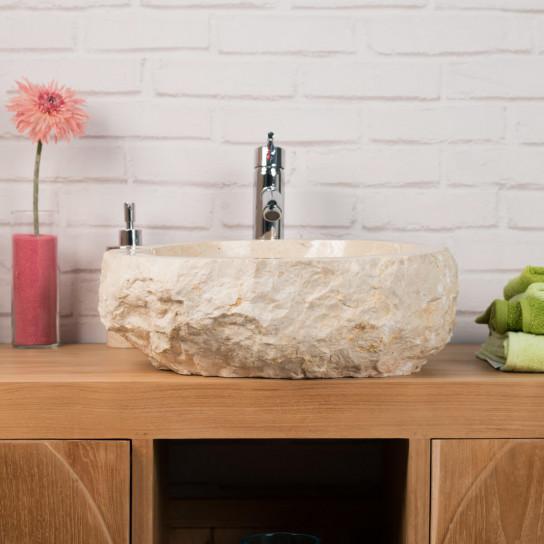 vasque poser en marbre roc rectangle cr me l 35 40 cm. Black Bedroom Furniture Sets. Home Design Ideas