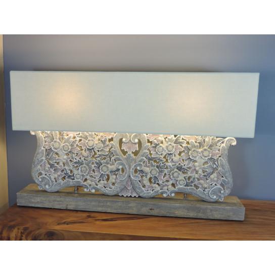Lampe de salon fleurs en bois patiné gris prune 1 m x 62 cm