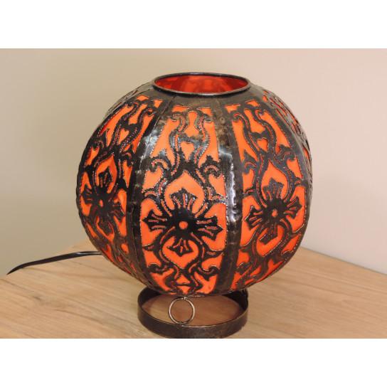 Lampe en acier ronde orange 22 cm