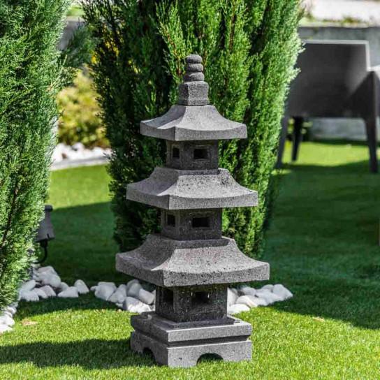 Lanterne japonaise pagode en pierre de lave 80 cm