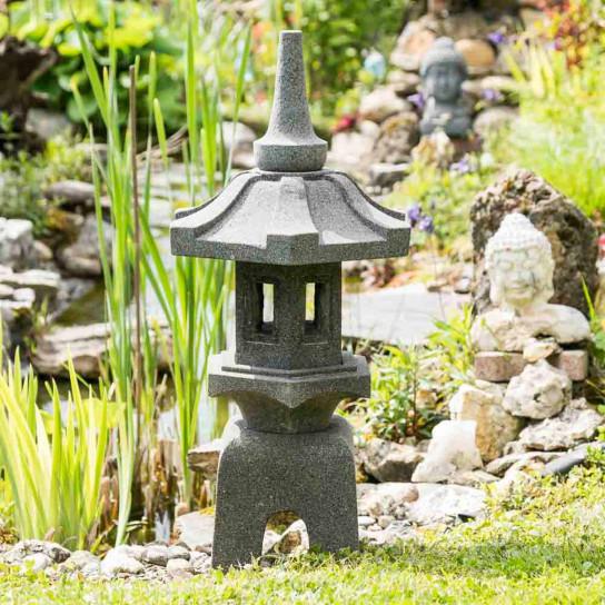 Lanterne japonaise en pierre de lave naturel h 80 cm for Lanterne jardin zen